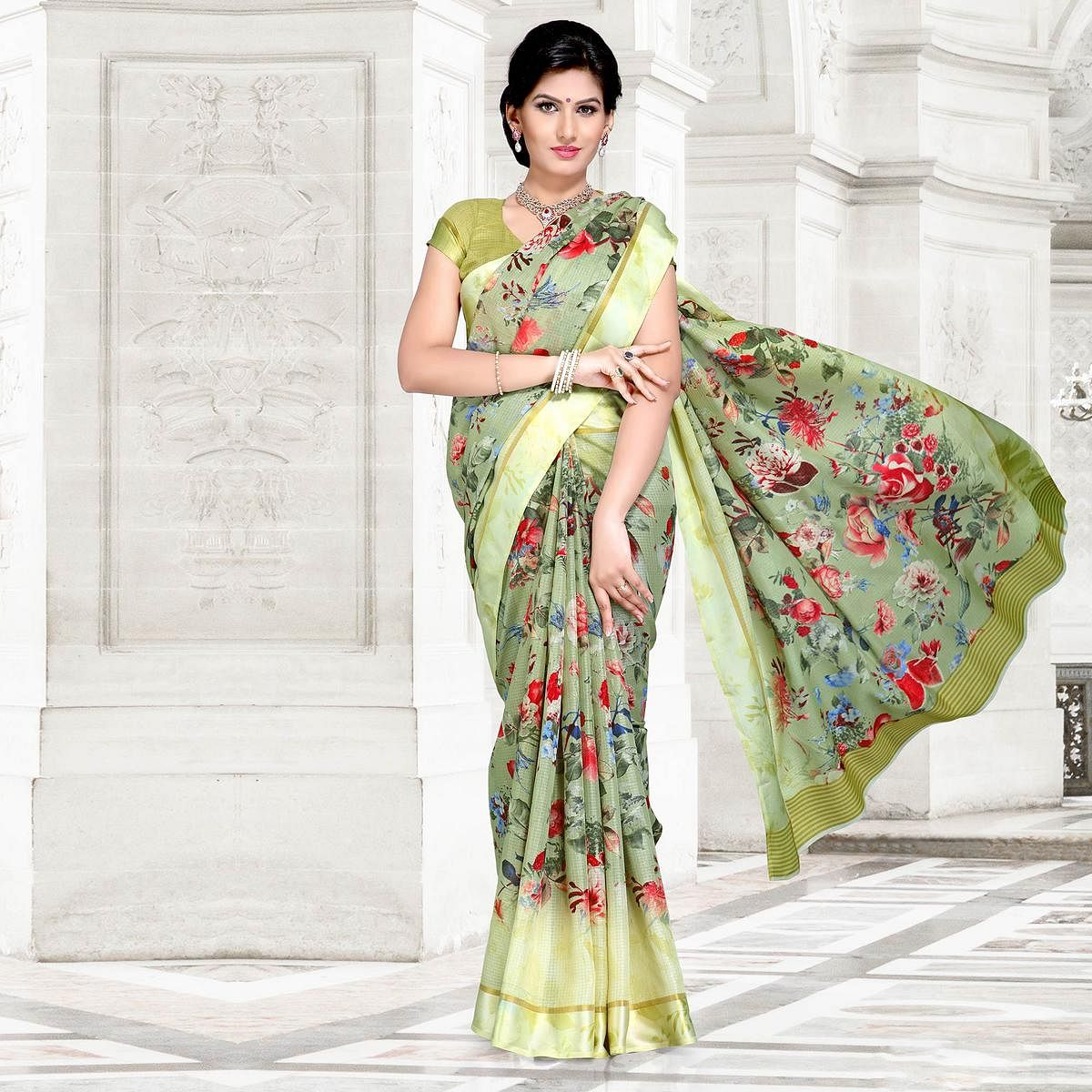 Mint Green Colored Casual Printed Chanderi Silk Saree