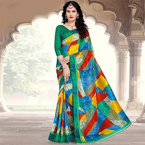 Green Colored Casual Printed Chanderi Silk Saree