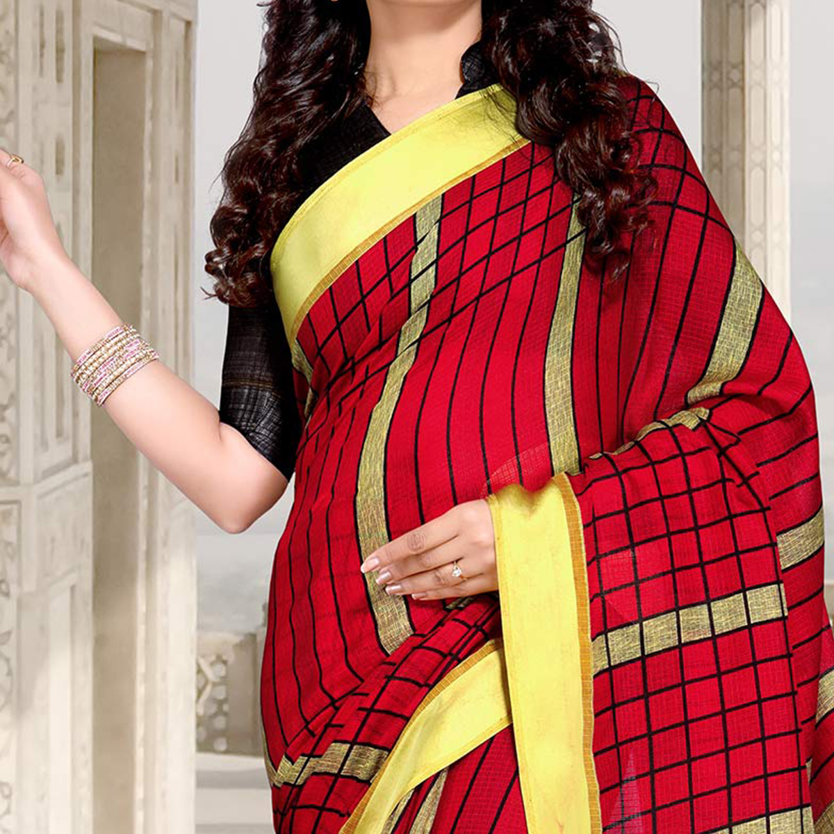 Red Colored Casual Printed Chanderi Silk Saree