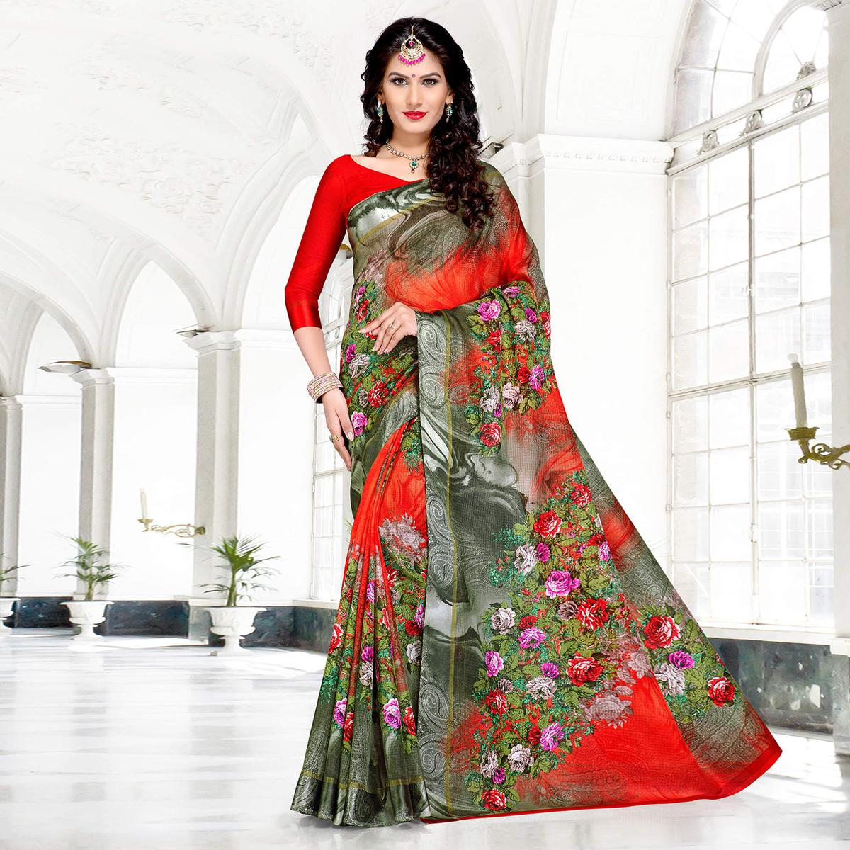 Red-Gray Colored Casual Printed Chanderi Silk Saree