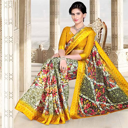 Yellow-Multi Colored Casual Printed Chanderi Silk Saree