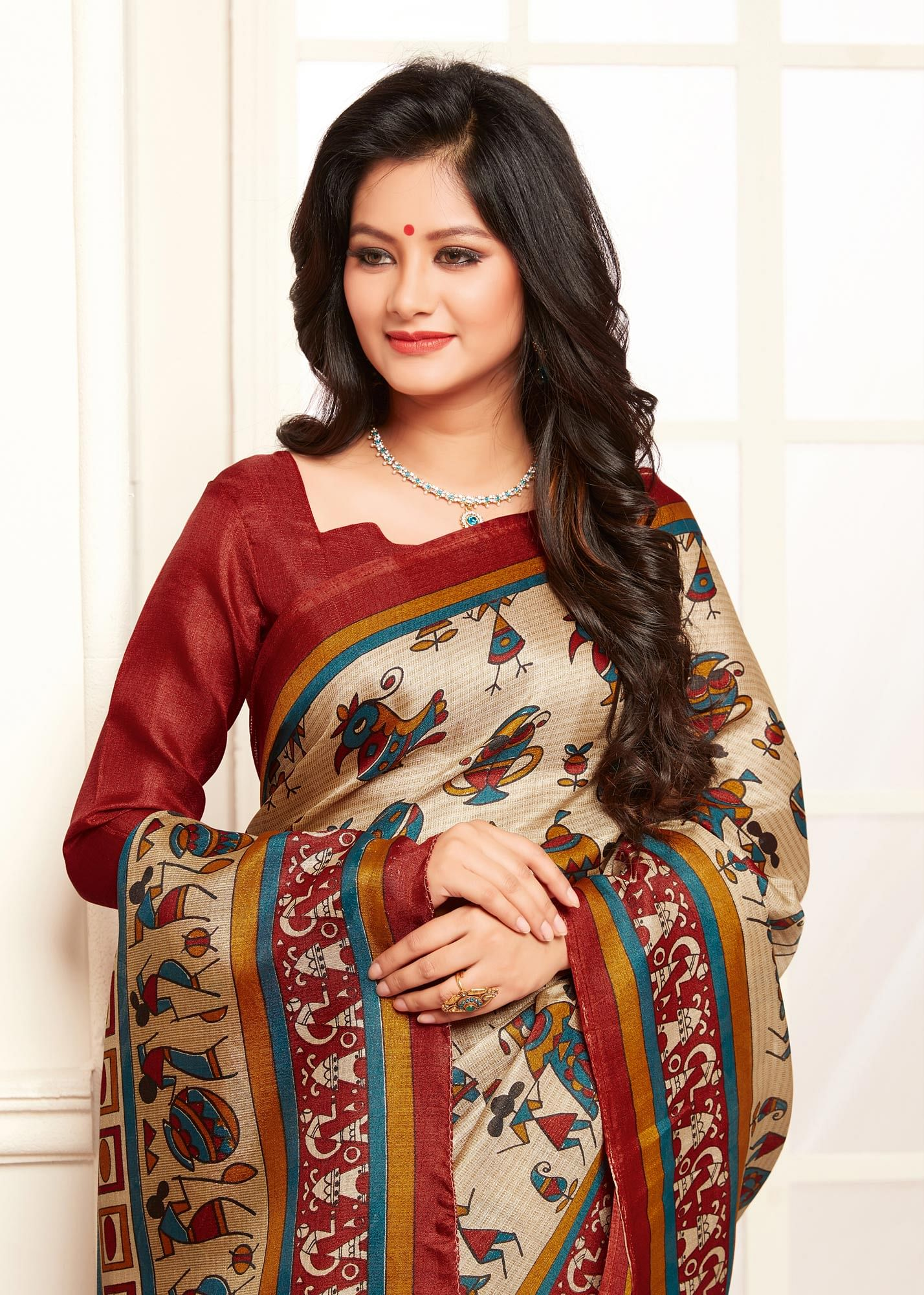 Trendy Red And Cream Warli Print Bhagalpuri Silk Saree