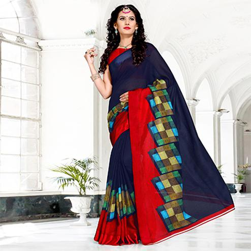 Navy Blue Colored Casual Printed Chanderi Silk Saree