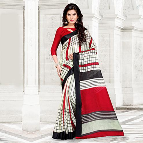 Off-White Colored Casual Printed Chanderi Silk Saree