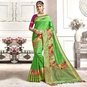 Perfect Green Colored Festive Wear Printed Woven Art Silk Saree