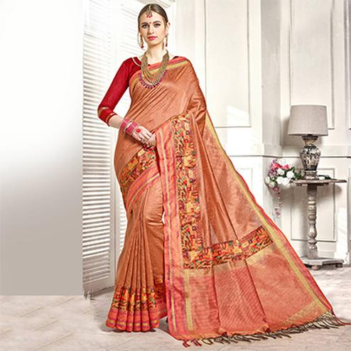 Pretty Peach Colored Festive Wear Printed Woven Art Silk Saree