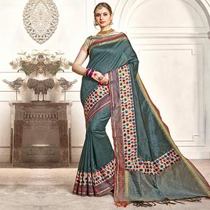 Attractive Steel Gray Colored Festive Wear Printed Woven Art Silk Saree