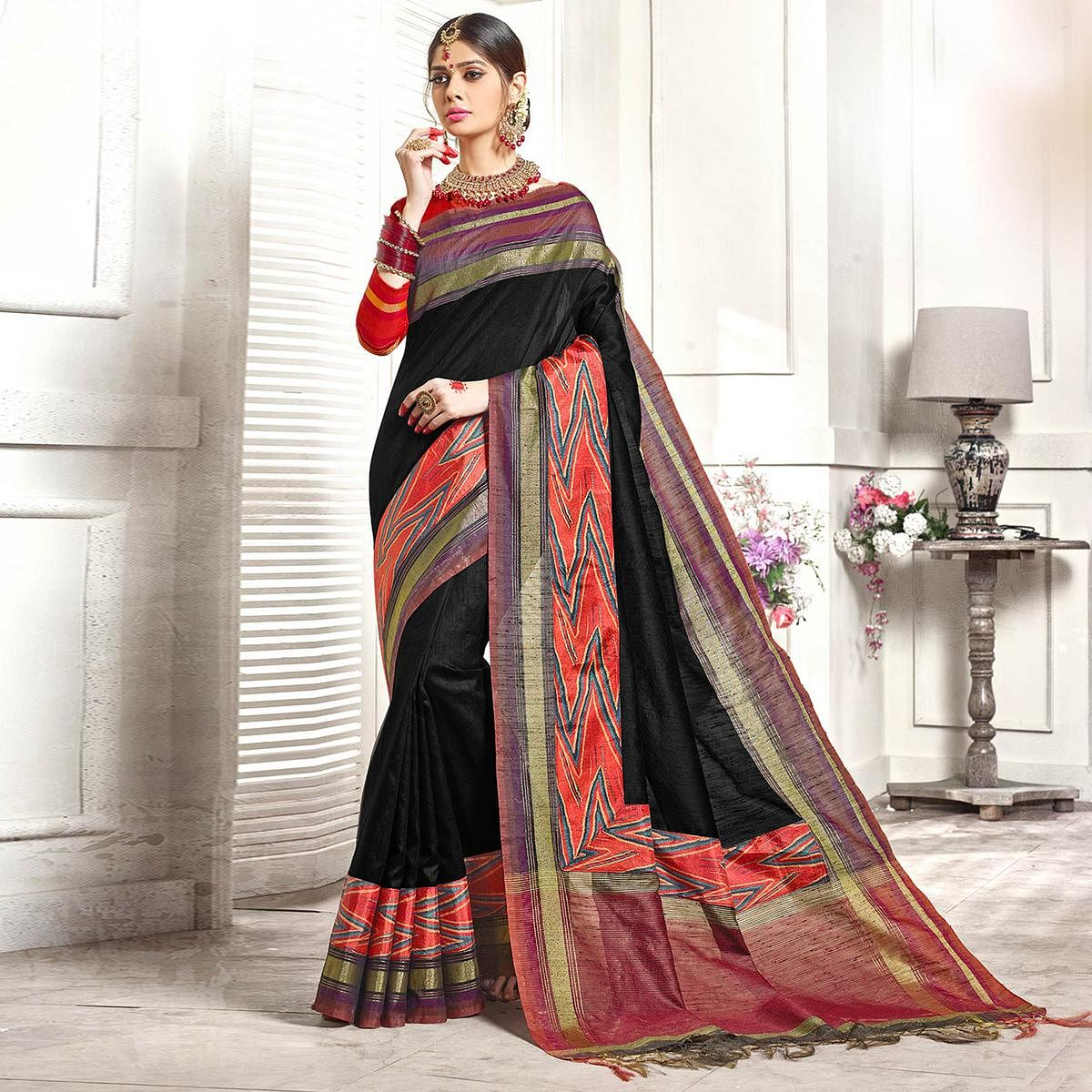 Beautiful Black Colored Festive Wear Printed Woven Art Silk Saree