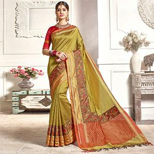 Glowing Yellow Colored Festive Wear Printed Woven Art Silk Saree