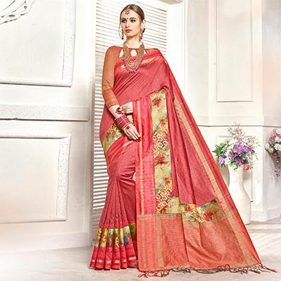 Trendy Red Colored Festive Wear Printed Woven Art Silk Saree