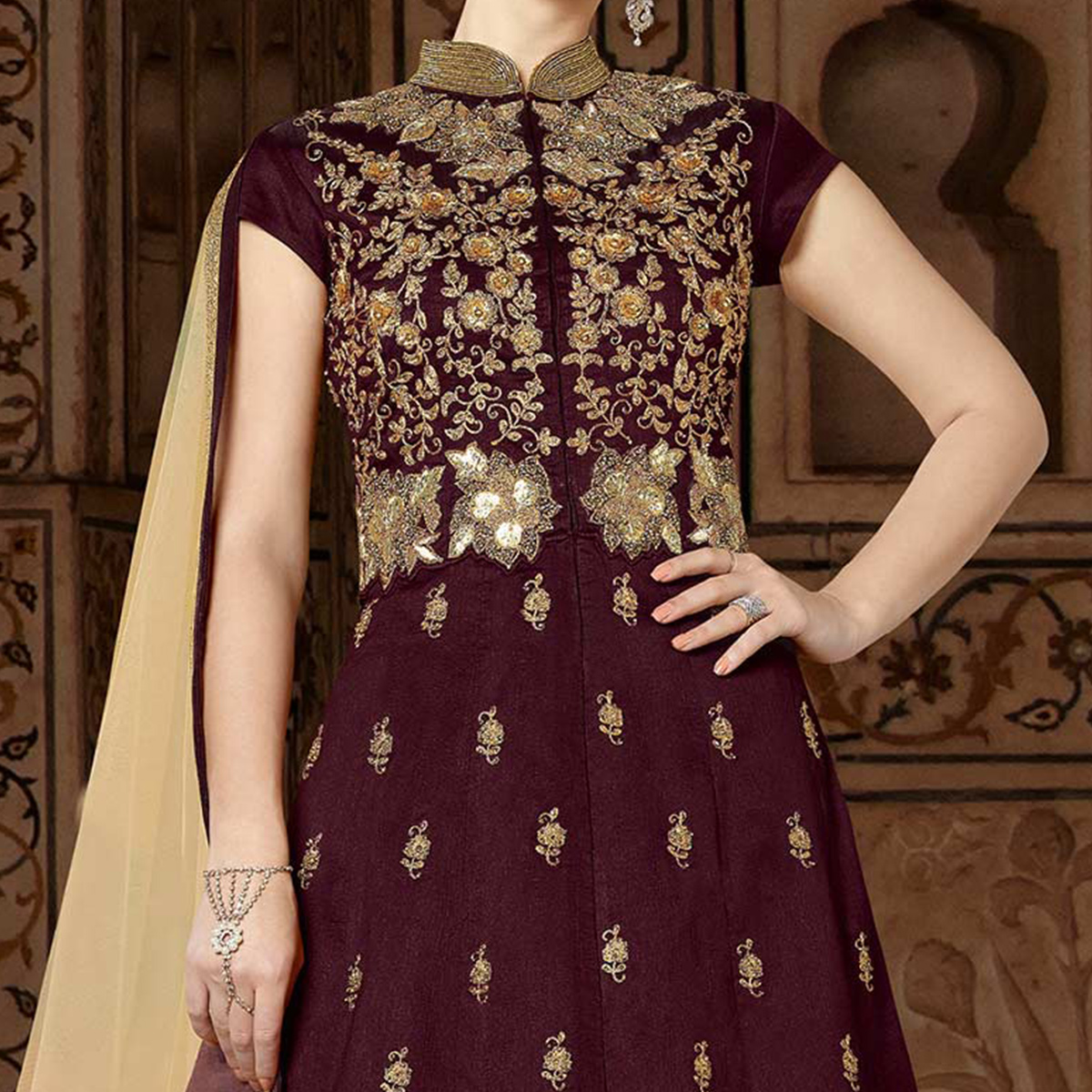 Elegant Wine Colored Partywear Embroidered Art Silk Anarkali Suit