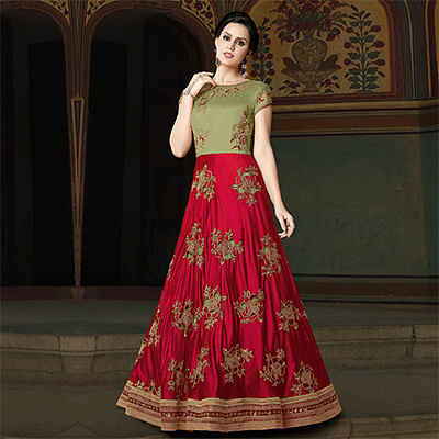Stylish Fuschia Pink-Olive Green Colored Partywear Embroidered Art Silk Anarkali Suit