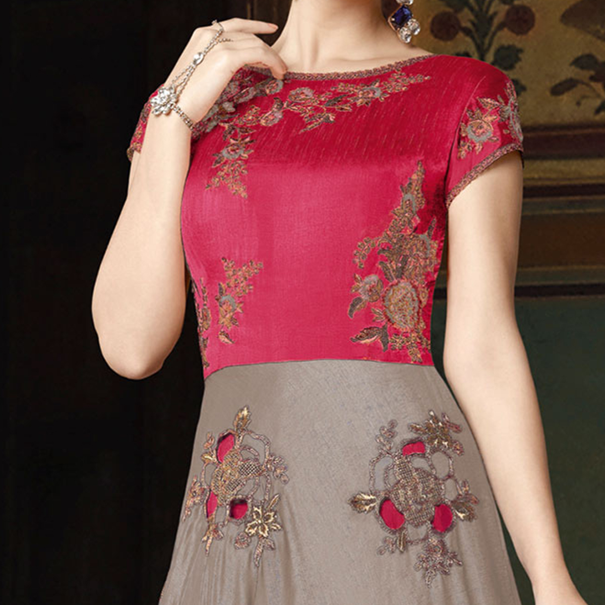 Trendy Gray-Fuschia Pink Colored Partywear Embroidered Art Silk Anarkali Suit