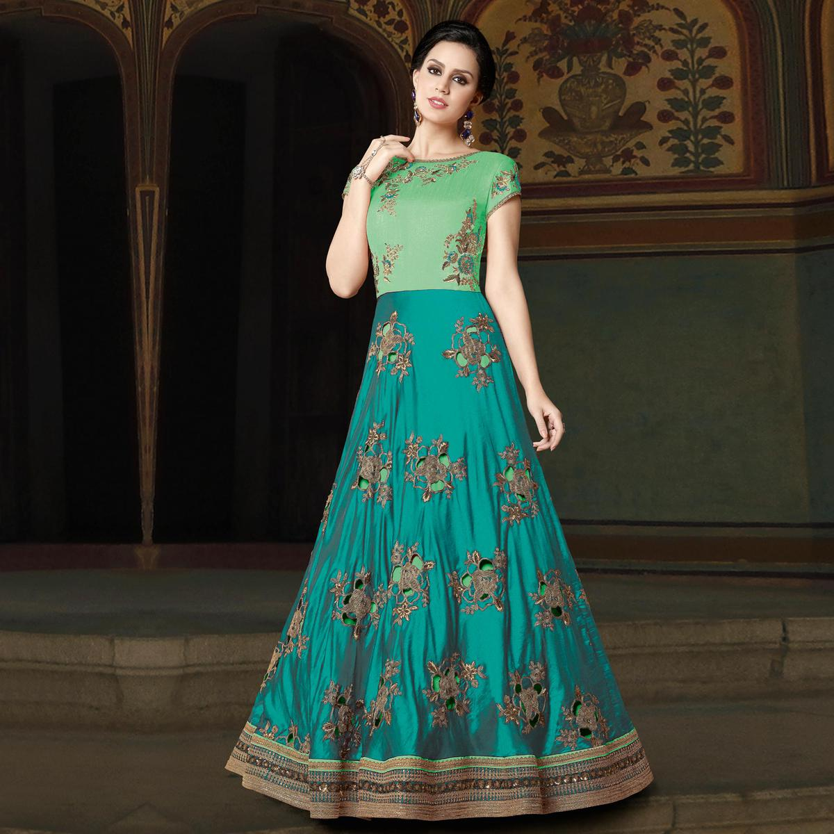 Flaunt Aqua Blue-Green Colored Partywear Embroidered Art Silk Anarkali Suit