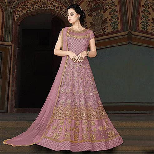Pretty Pink Colored Partywear Embroidered Net Anarkali Suit