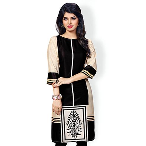 Cream - Black Casual Wear Printed Kurti