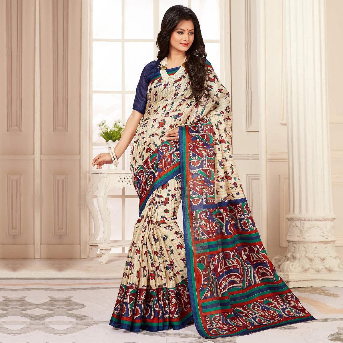 Elegant Blue And Cream Warli Print Bhagalpuri Silk Saree