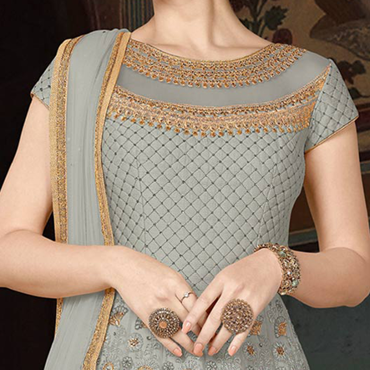 Groovy Gray Colored Partywear Embroidered Net Anarkali Suit