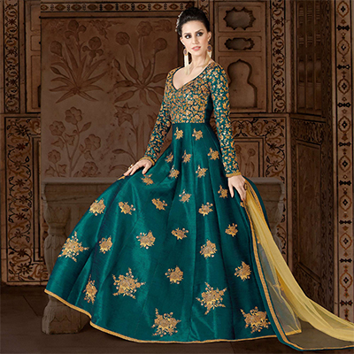Refreshing Rama Green Colored Partywear Embroidered Art Silk Anarkali Suit