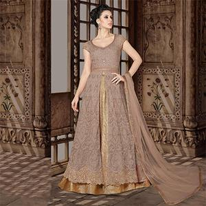 Bold Light Brown Colored Partywear Embroidered Net Anarkali Suit