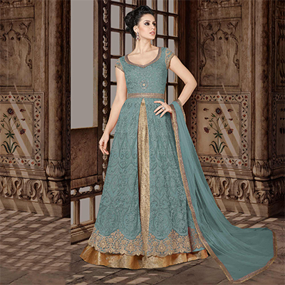 Majestic Light Blue Colored Partywear Embroidered Net Anarkali Suit