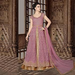 Perfect Pink Colored Partywear Embroidered Net Anarkali Suit