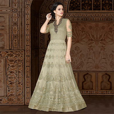 Blooming Green Colored Partywear Embroidered Net Anarkali Suit