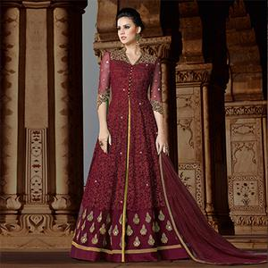 Marvellous Magenta Colored Partywear Embroidered Net Anarkali Suit