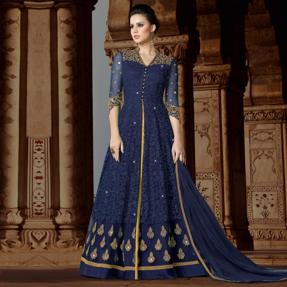 Innovative Navy Blue Colored Partywear Embroidered Net Anarkali Suit