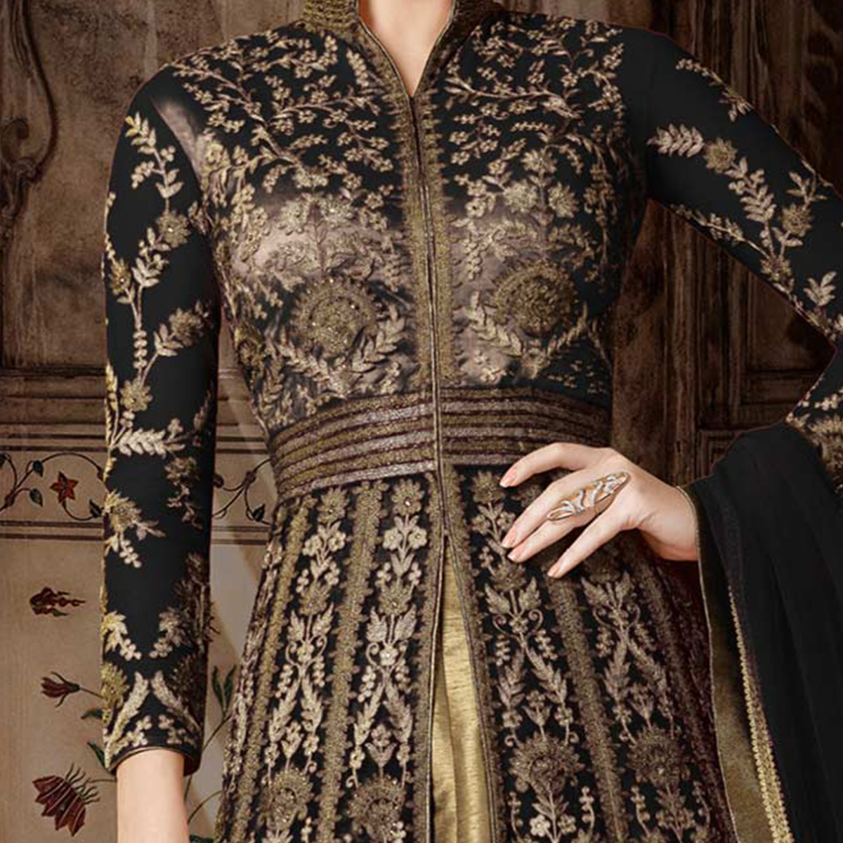 Blunt Black Colored Partywear Embroidered Net Anarkali Suit