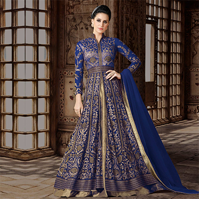 Royal Blue Colored Partywear Embroidered Net Anarkali Suit