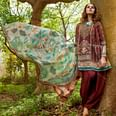 Groovy Maroon Colored Fancy Embroidered-Printed Cotton Dress Material