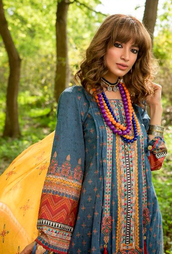 Blooming Pastel Blue Colored Fancy Embroidered-Printed Cotton Dress Material