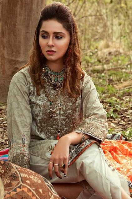 Demanding Gray Colored Fancy Embroidered-Printed Cotton Dress Material