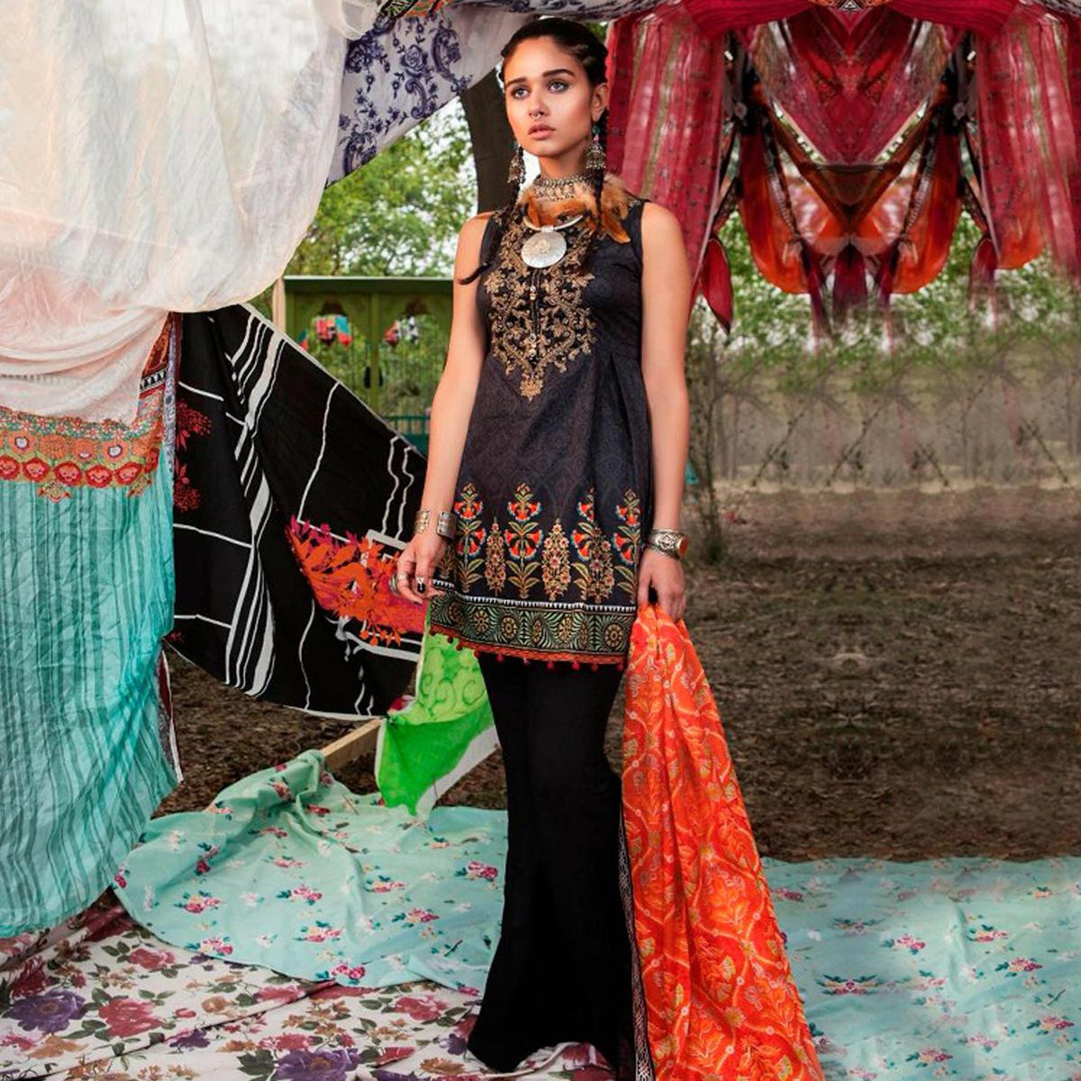 Bold Black Colored Fancy Embroidered-Printed Cotton Dress Material