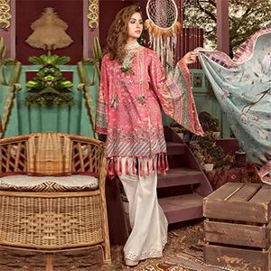 Stylish Peach Colored Fancy Embroidered-Printed Cotton Dress Material