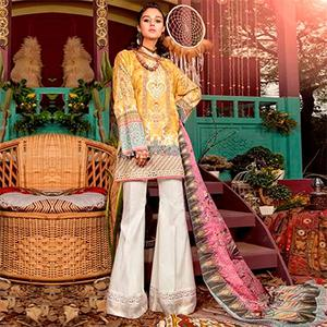 Trendy Yellow Colored Fancy Embroidered-Printed Cotton Dress Material