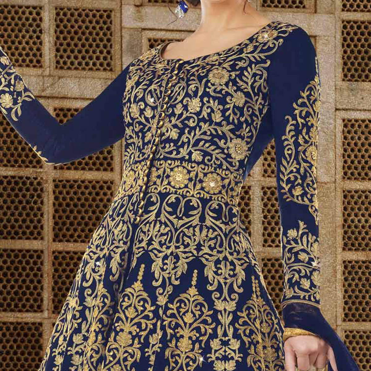 Beautiful Navy Blue Colored Partywear Embroidered Art Silk Anarkali Suit