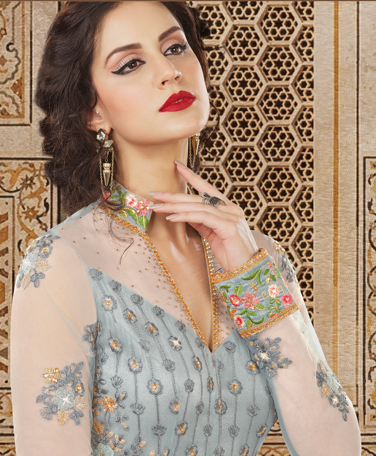 Trendy Gray Colored Partywear Embroidered Net Anarkali Suit