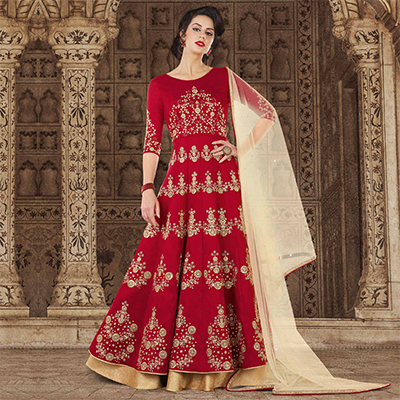 Flaunt Maroon Colored Partywear Embroidered Art Silk Anarkali Suit