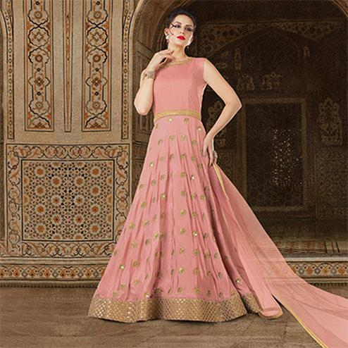 Refreshing Pink Colored Partywear Embroidered Art Silk Anarkali Suit