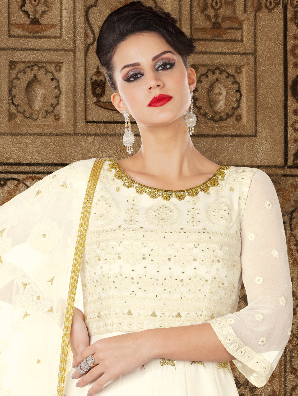 Opulent Off-White Colored Partywear Embroidered Georgette Anarkali Suit