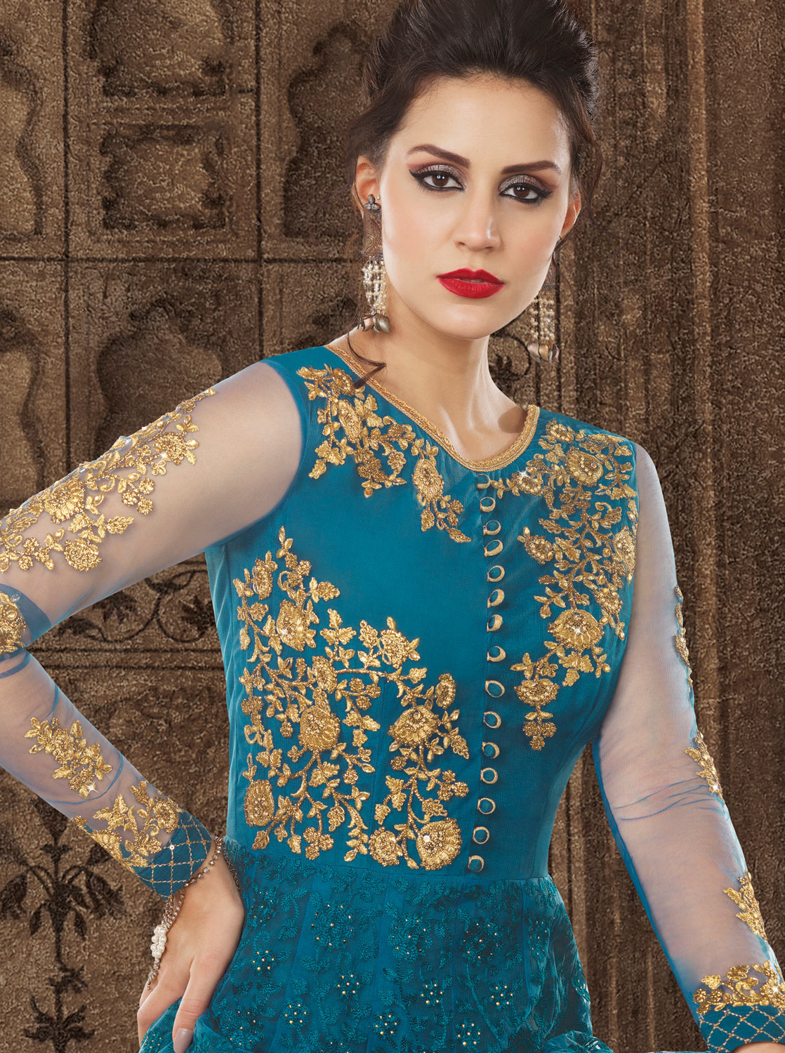 Blooming Blue Colored Partywear Embroidered Net Anarkali Suit