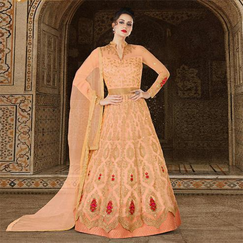 Perfect Peach Colored Partywear Embroidered Net Anarkali Suit