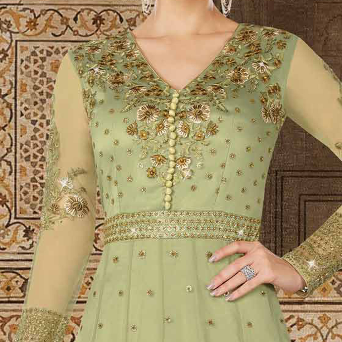 Groovy Mint Green Colored Partywear Embroidered Net Anarkali Suit