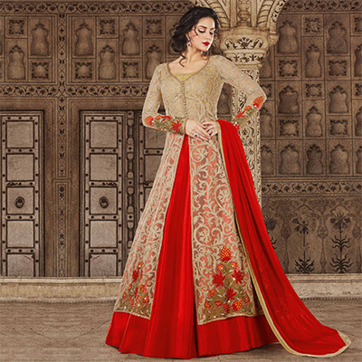 Mesmerising Beige-Red Colored Partywear Embroidered Net Anarkali Suit
