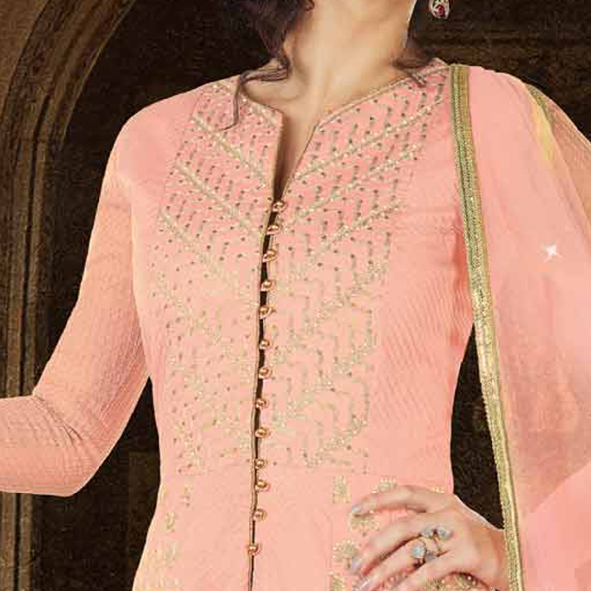 Pretty Pink Colored Partywear Embroidered Art Silk Anarkali Suit
