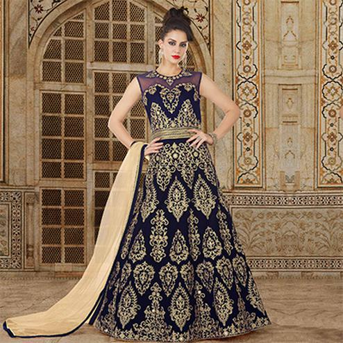 Stylish Velvet Blue Colored Partywear Embroidered Velvet Anarkali Suit