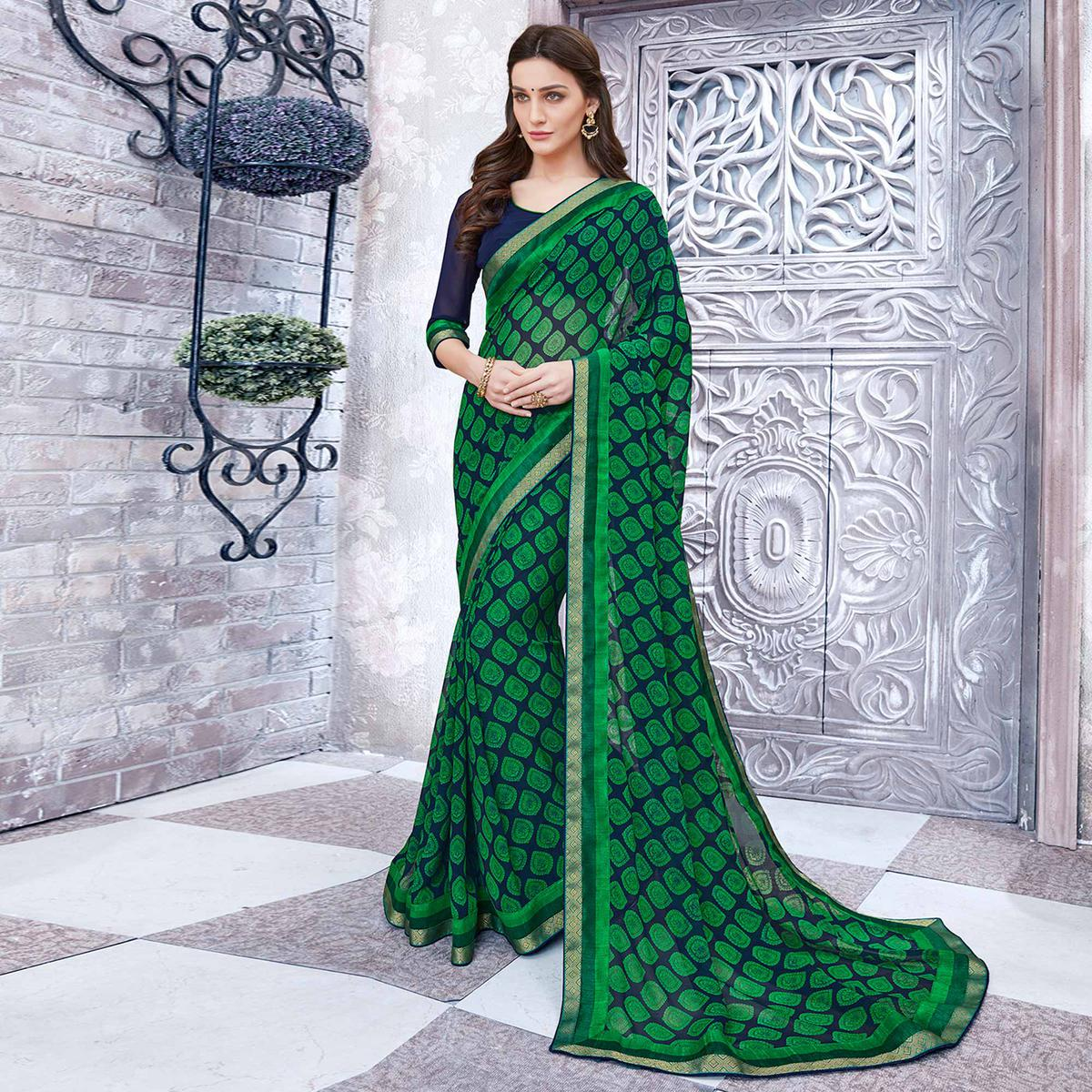 Green & Navy Blue Colored Casual Wear Printed Georgette Saree