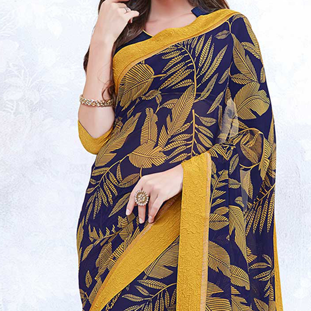 Navy Blue & Yellow Colored Casual Wear Printed Georgette Saree